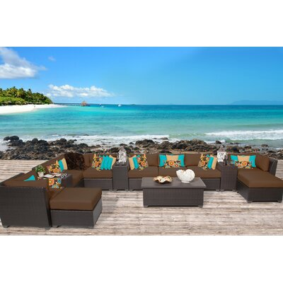 Barbados 14 Piece Sectional Seating Group with Cushion Fabric: Cocoa