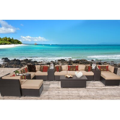 Barbados 14 Piece Sectional Seating Group with Cushion Fabric: Wheat