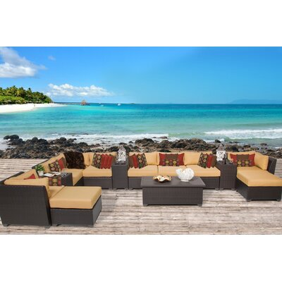 Barbados 14 Piece Sectional Seating Group with Cushion Fabric: Sesame