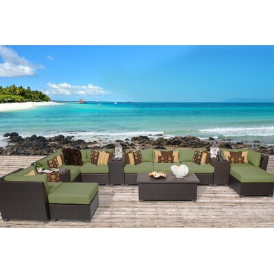 Barbados 14 Piece Sectional Seating Group with Cushion Fabric: Cilantro