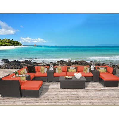 Barbados 14 Piece Sectional Seating Group with Cushion Fabric: Tangerine