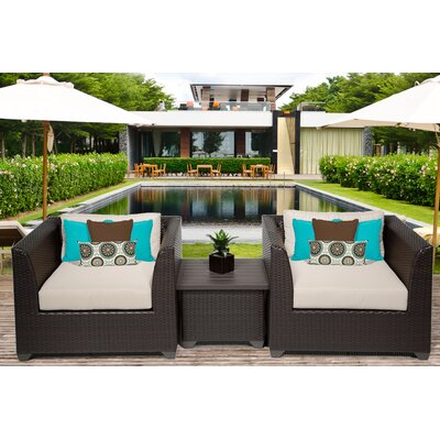 Barbados 3 Piece Deep Seating Group with Cushion Fabric: Beige