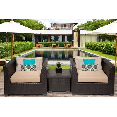 Barbados 3 Piece Deep Seating Group with Cushion Fabric: Wheat