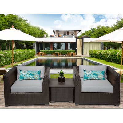 Barbados 3 Piece Deep Seating Group with Cushion Fabric: Gray