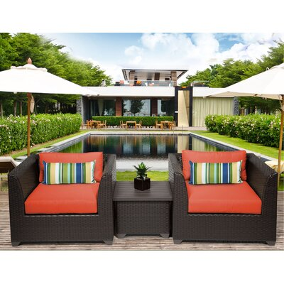 Barbados 3 Piece Deep Seating Group with Cushion Fabric: Tangerine