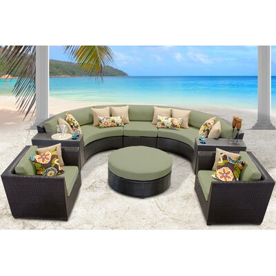 Barbados 8 Piece Sectional Seating Group with Cushion Fabric: Cilantro