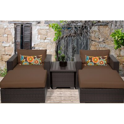 Belle 5 Piece Seating Group with Cushion Fabric: Cocoa