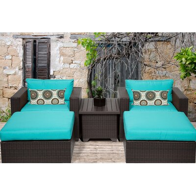 Belle 5 Piece Seating Group with Cushion Fabric: White