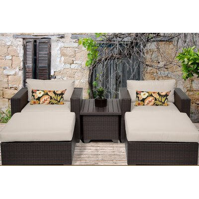 Belle 5 Piece Seating Group with Cushion Fabric: Beige