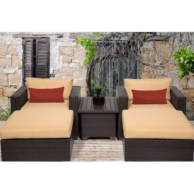Belle 5 Piece Seating Group with Cushion Fabric: Sesame