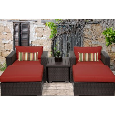 Belle 5 Piece Seating Group with Cushion Fabric: Terracotta