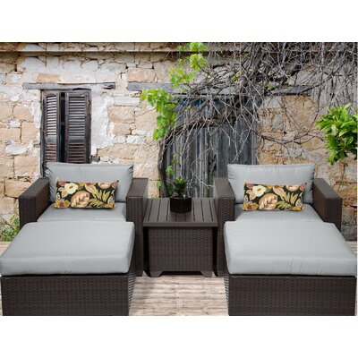 Belle 5 Piece Seating Group with Cushion Fabric: Grey