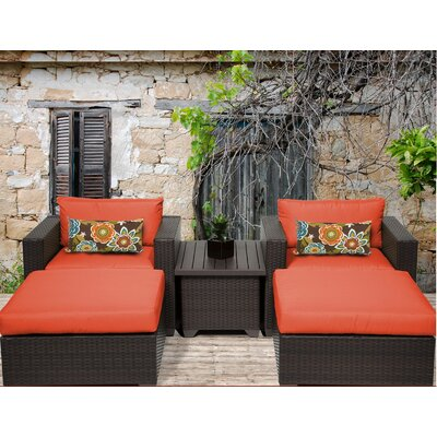 Belle 5 Piece Seating Group with Cushion Fabric: Tangerine
