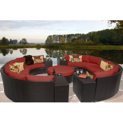 Barbados 11 Piece Sectional Seating Group with Cushion Fabric: Terracotta