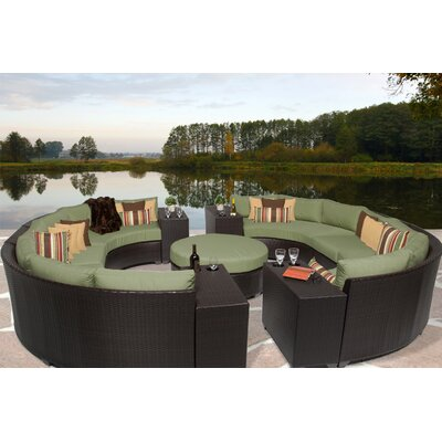 Barbados 11 Piece Sectional Seating Group with Cushion Fabric: Cilantro