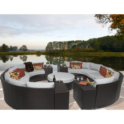 Barbados 11 Piece Sectional Seating Group with Cushion Fabric: Grey