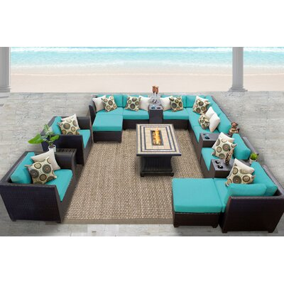 Barbados 17 Piece Sectional Seating Group with Cushion Fabric: White