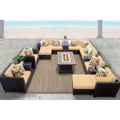 Barbados 17 Piece Sectional Seating Group with Cushion Fabric: Sesame