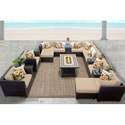 Barbados 17 Piece Sectional Seating Group with Cushion Fabric: Wheat