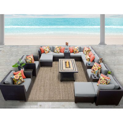 Barbados 17 Piece Sectional Seating Group with Cushion Fabric: Grey