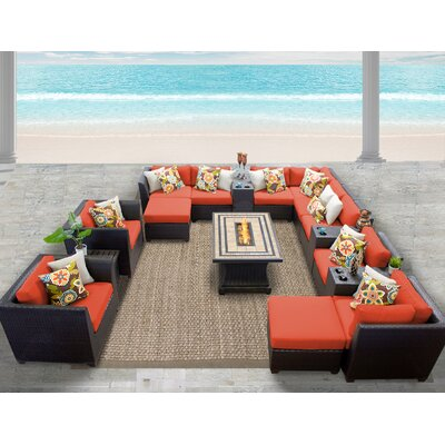 Barbados 17 Piece Sectional Seating Group with Cushion Fabric: Tangerine