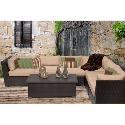 Barbados 7 Piece Sectional Seating Group with Cushion Fabric: Wheat