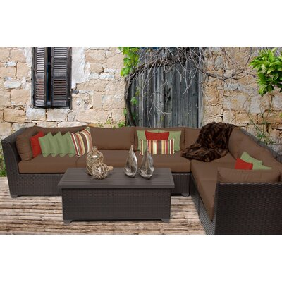 Barbados 7 Piece Sectional Seating Group with Cushion Fabric: Cocoa