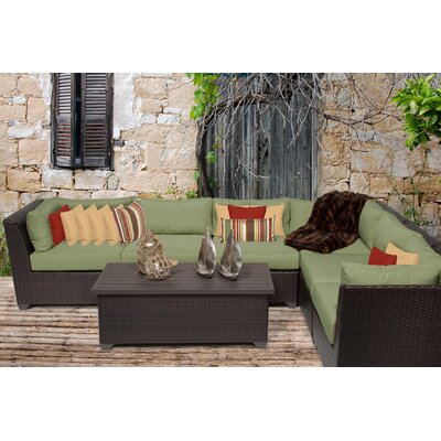Barbados 7 Piece Sectional Seating Group with Cushion Fabric: Cilantro