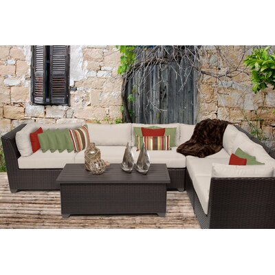 Barbados 7 Piece Sectional Seating Group with Cushion Fabric: Beige