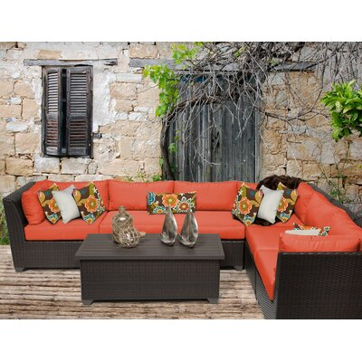 Barbados 7 Piece Sectional Seating Group with Cushion Fabric: Tangerine