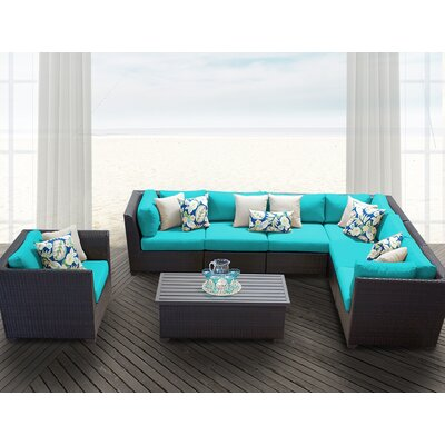 Barbados 8 Piece Sectional Seating Group with Cushion Fabric: Aruba