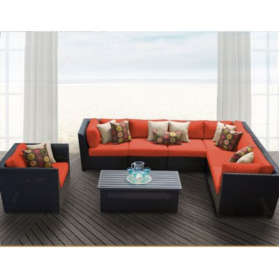 Barbados 8 Piece Sectional Seating Group with Cushion Fabric: Tangerine