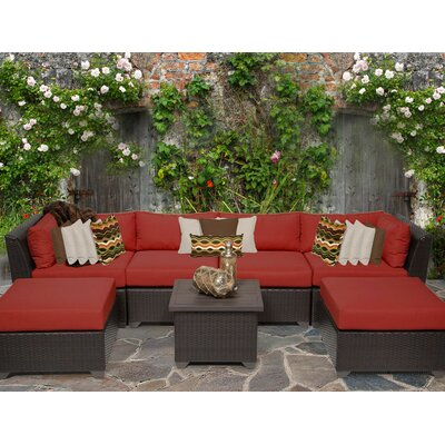Barbados 7 Piece Sectional Seating Group with Cushion Fabric: Terracotta