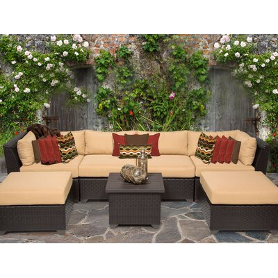 Barbados 7 Piece Sectional Seating Group with Cushion Fabric: Sesame