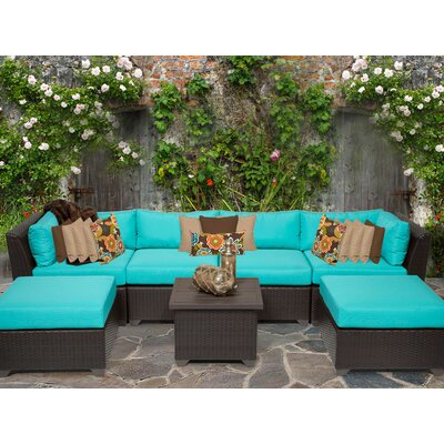 Barbados 7 Piece Sectional Seating Group with Cushion Fabric: Aruba