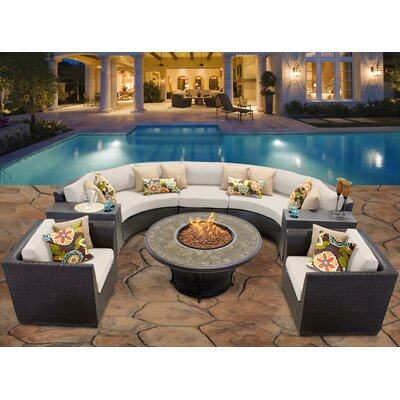 Barbados 8 Piece Fire Pit Seating Group with Cushion Fabric: Beige