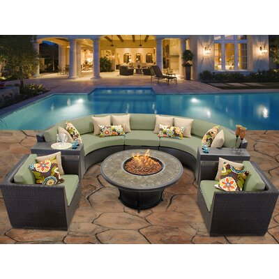 Barbados 8 Piece Fire Pit Seating Group with Cushion Fabric: Cilantro