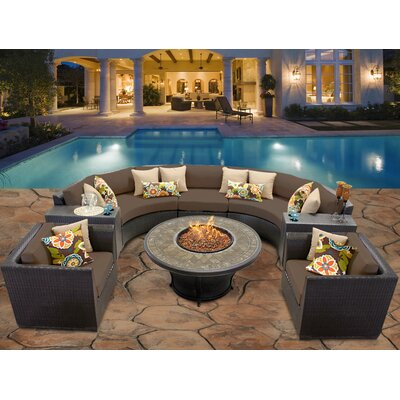 Barbados 8 Piece Fire Pit Seating Group with Cushion Fabric: Cocoa