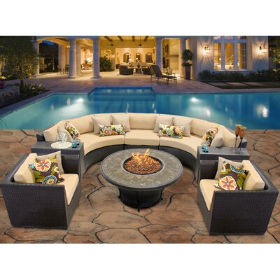 Barbados 8 Piece Fire Pit Seating Group with Cushion Fabric: Sesame