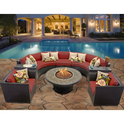 Barbados 8 Piece Fire Pit Seating Group with Cushion Fabric: Terracotta