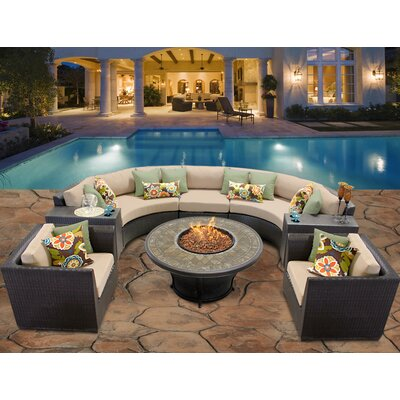 Barbados 8 Piece Fire Pit Seating Group with Cushion Fabric: Wheat