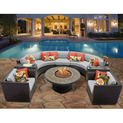Barbados 8 Piece Fire Pit Seating Group with Cushion Fabric: Grey