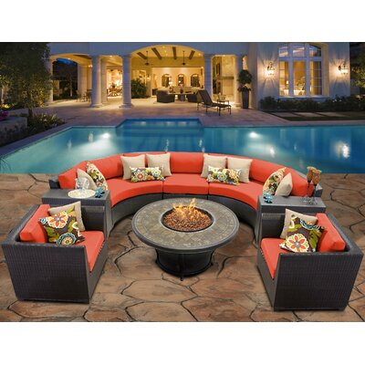 Barbados 8 Piece Fire Pit Seating Group with Cushion Fabric: Tangerine