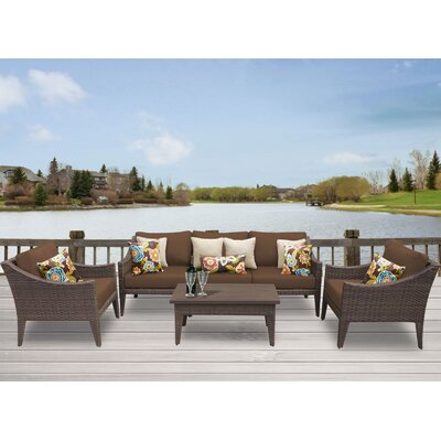Manhattan 6 Piece Deep Seating Group with Cushion Fabric: Cocoa