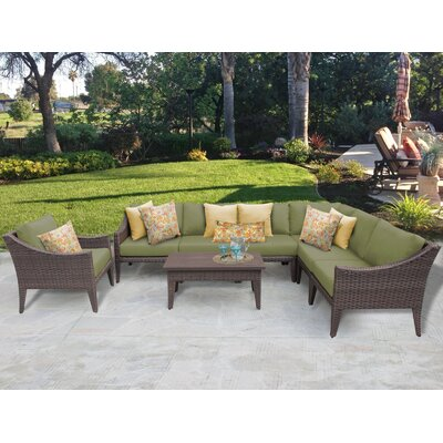 Manhattan 8 Piece Deep Seating Group with Cushion Fabric: Cilantro