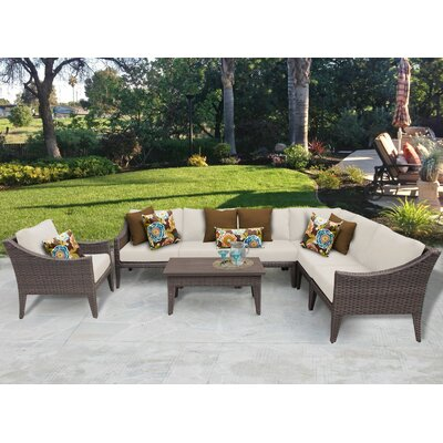 Manhattan 8 Piece Deep Seating Group with Cushion Fabric: Beige
