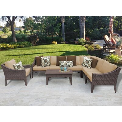 Manhattan 8 Piece Deep Seating Group with Cushion Fabric: Wheat