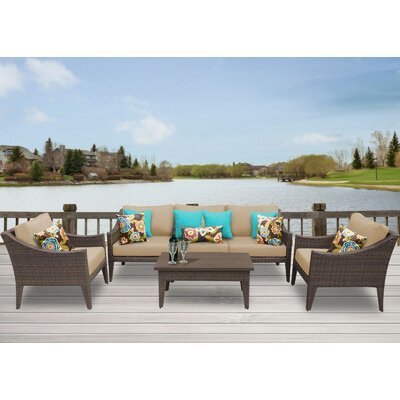 Manhattan 6 Piece Deep Seating Group with Cushion Fabric: Wheat