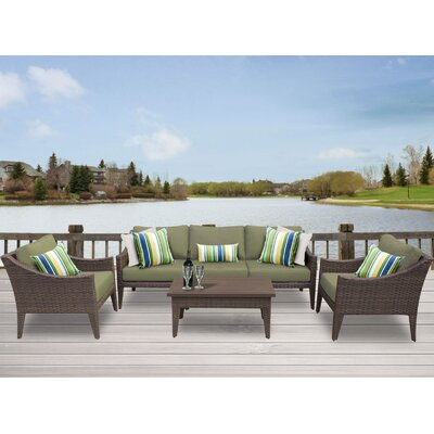 Manhattan 6 Piece Deep Seating Group with Cushion Fabric: Cilantro