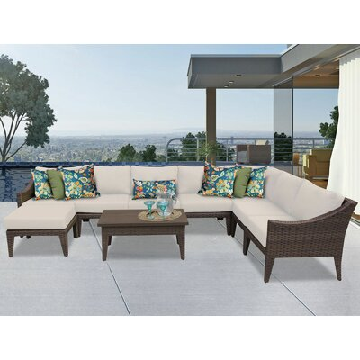 Manhattan 9 Piece Sectional Seating Group with Cushion Fabric: Beige